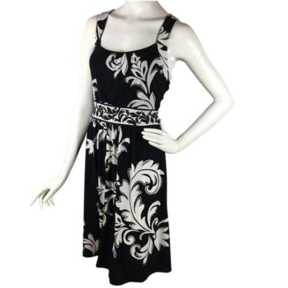 White House Black Market Dresses & Skirts - B2G1 WHBM Black/White Scroll Keyhole Tank Dress
